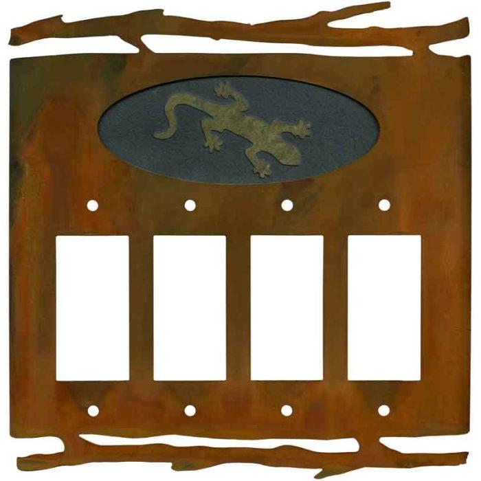 Rustic Gecko 4 Rocker GFCI Decorator Switch Plates