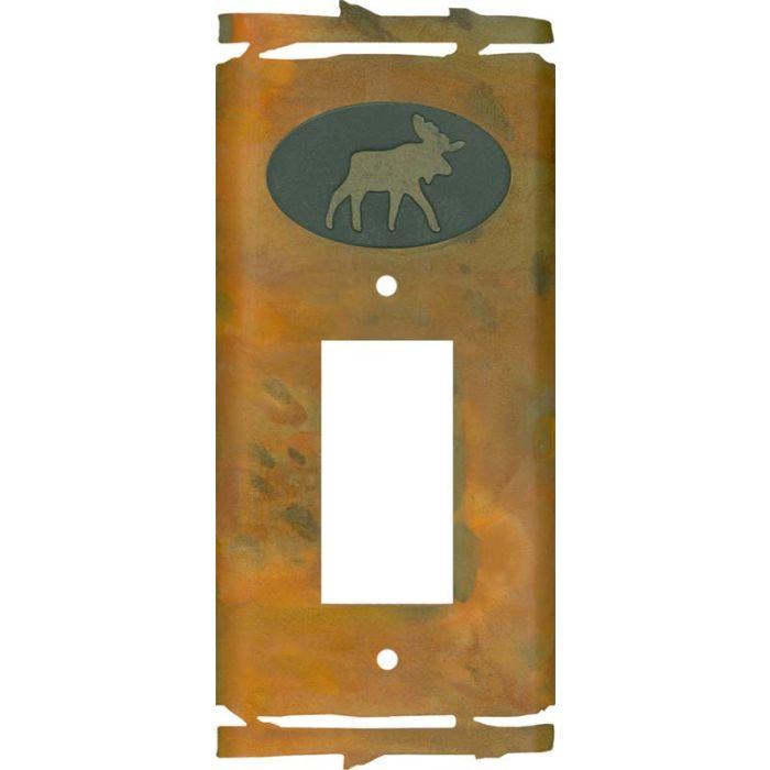 Rustic Moose Single 1 Gang GFCI Rocker Decora Switch Plate Cover