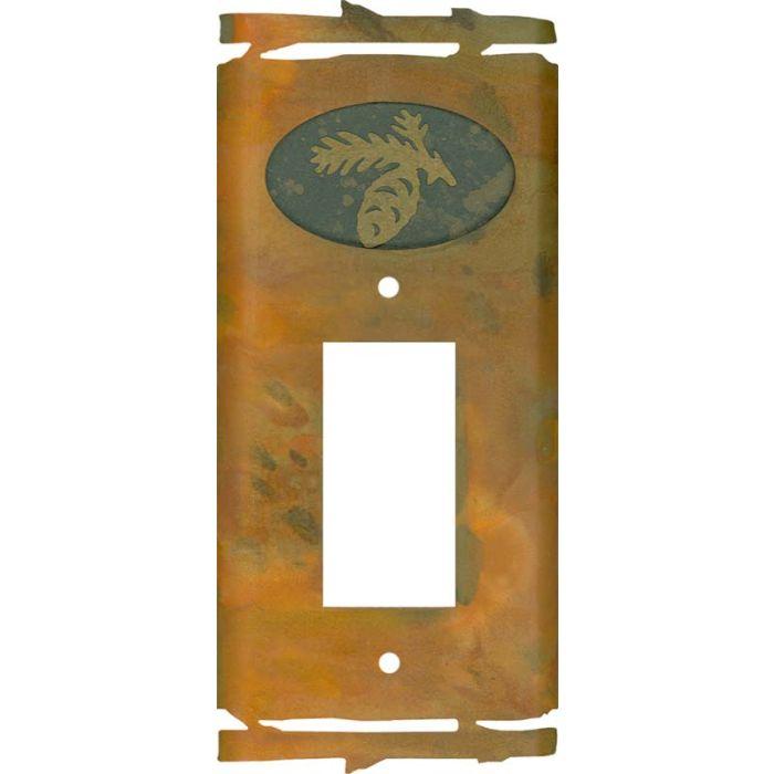 Rustic Pine Cone Single 1 Gang GFCI Rocker Decora Switch Plate Cover