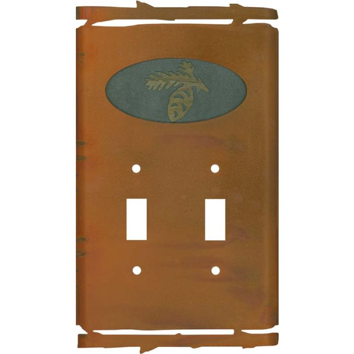 Rustic Pine Cone Double 2 Toggle Switch Plate Covers