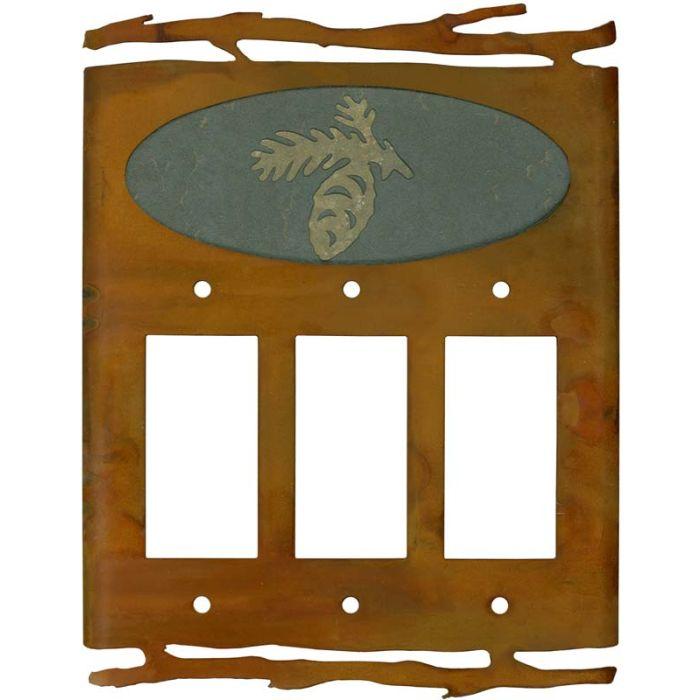Rustic Pine Cone Triple 3 Rocker GFCI Decora Light Switch Covers