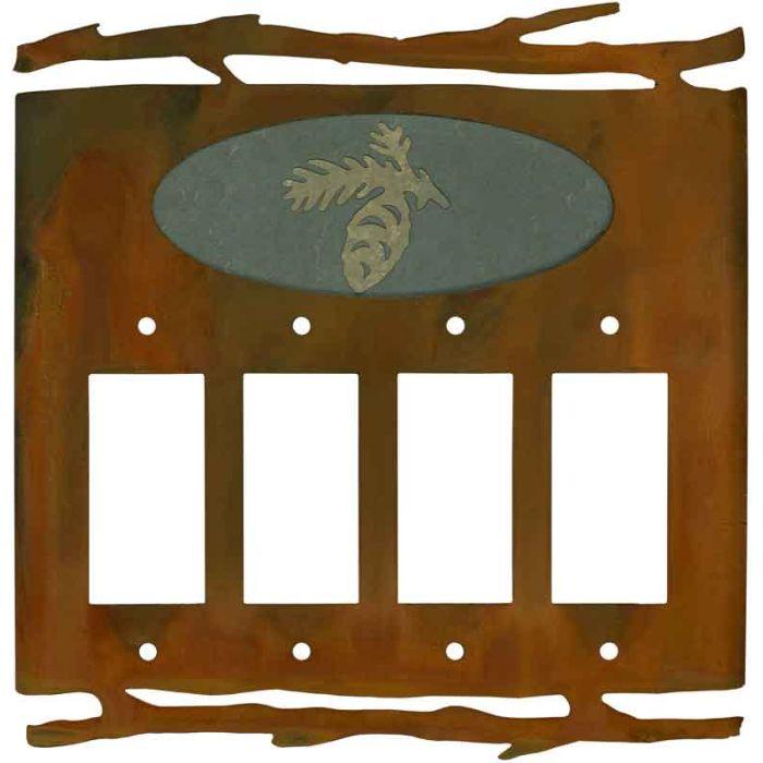 Rustic Pine Cone 4 Rocker GFCI Decorator Switch Plates