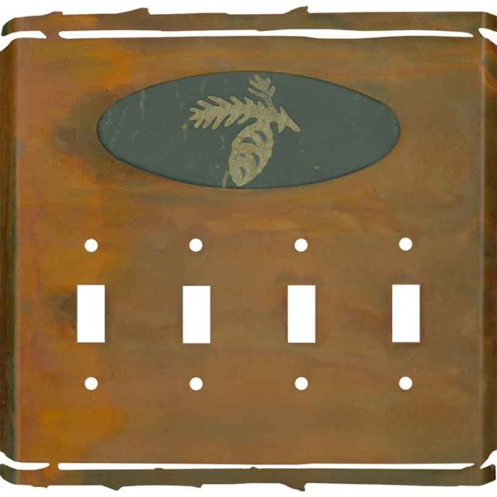 Rustic Pine Cone Quad 4 Toggle Light Switch Covers