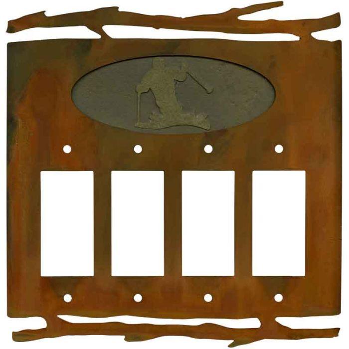 Rustic Skier 4 Rocker GFCI Decorator Switch Plates