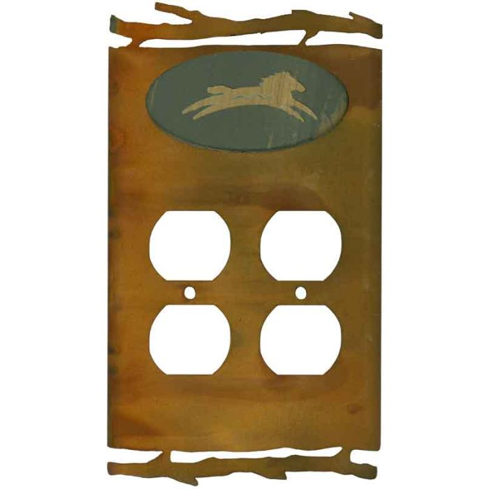 Rustic Spirit Horse 2 Gang Duplex Outlet Wall Plate Cover