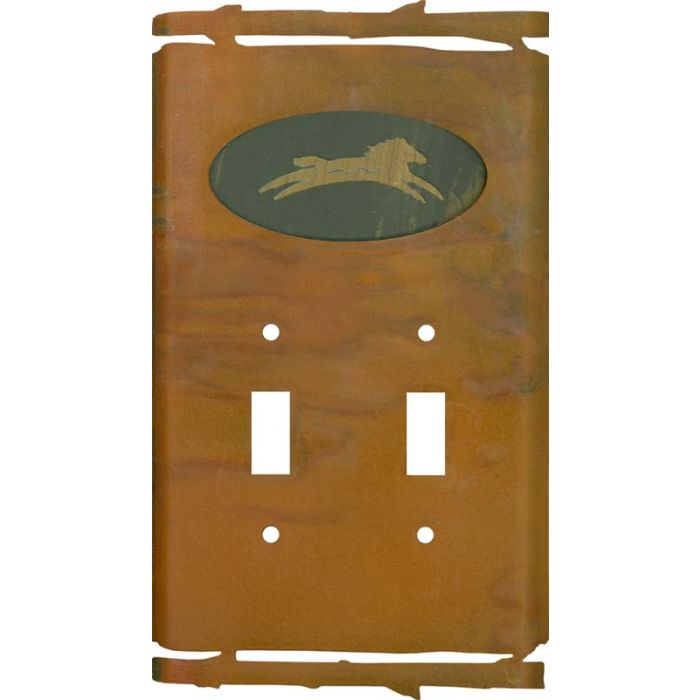 Rustic Spirit Horse Double 2 Toggle Switch Plate Covers