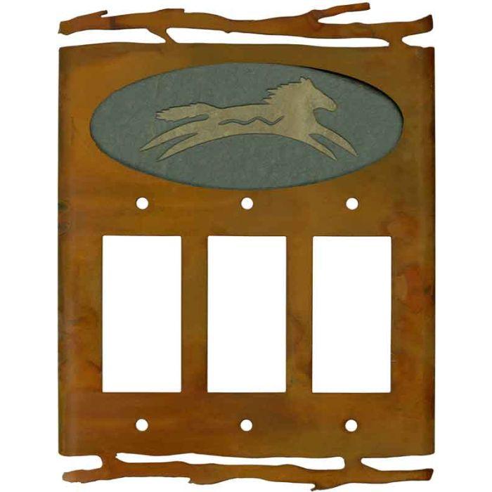 Rustic Spirit Horse Triple 3 Rocker GFCI Decora Light Switch Covers