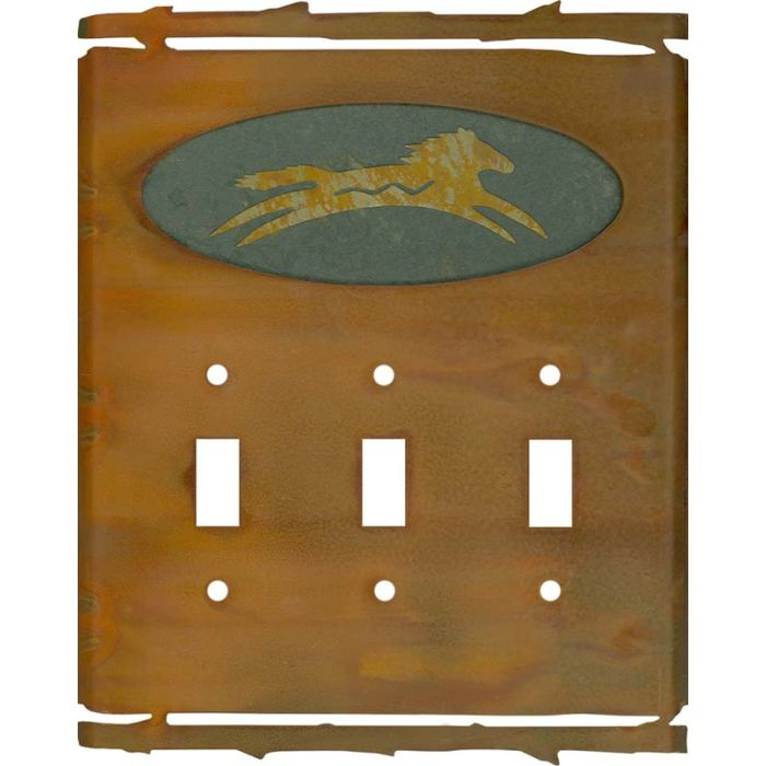 Rustic Spirit Horse Triple 3 Toggle Light Switch Covers