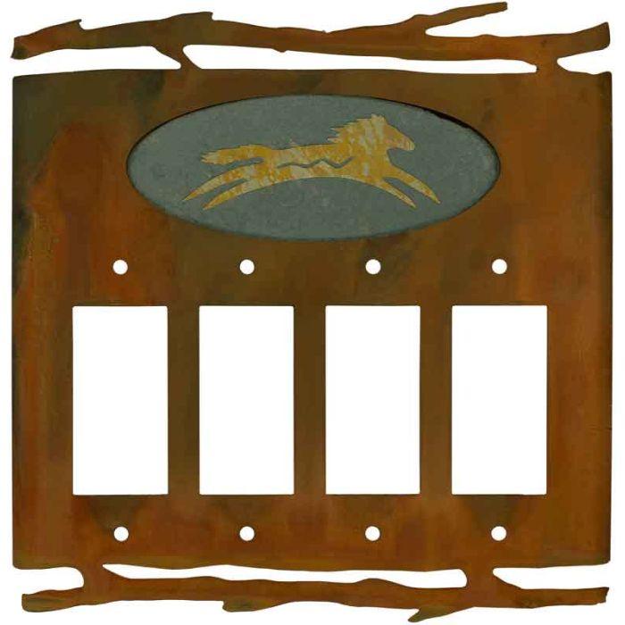 Rustic Spirit Horse 4 Rocker GFCI Decorator Switch Plates