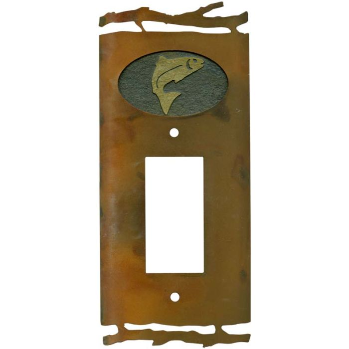 Rustic Trout1-Gang GFCI Decorator Rocker Switch Plate Cover