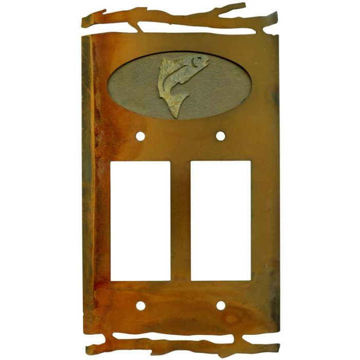 Rustic Trout2 Gang Decorator / GFCI Rocker Wall Plate Cover