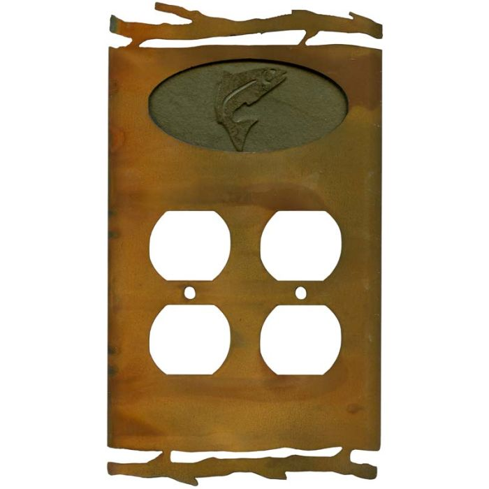 Rustic Trout2 Gang Duplex Outlet Wall Plate Cover