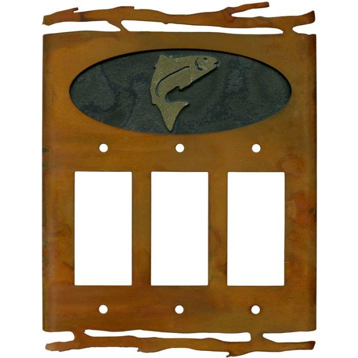 Rustic Trout Triple 3 Rocker GFCI Decora Light Switch Covers