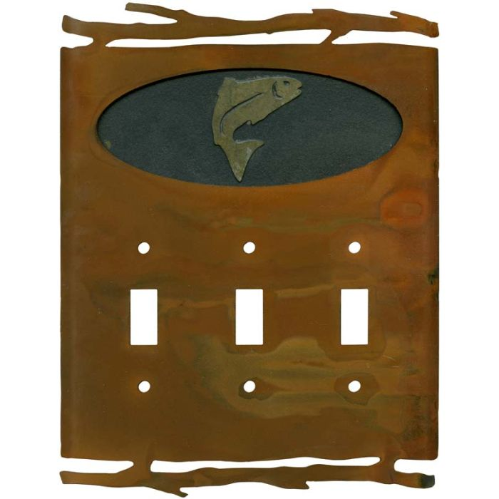 Rustic Trout3 - Toggle Switch Plates