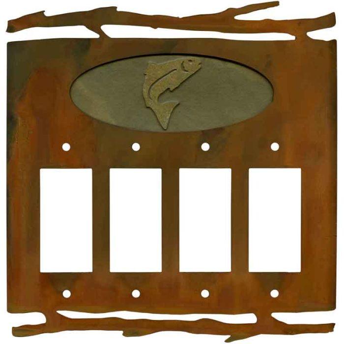 Rustic Trout 4 Rocker GFCI Decorator Switch Plates