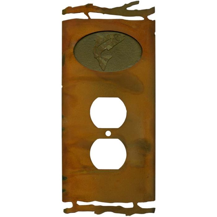 Rustic Trout1 - Gang Duplex Outlet Cover Wall Plate