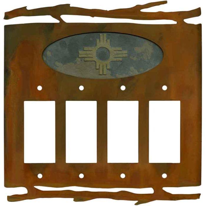 Rustic Zia 4 Rocker GFCI Decorator Switch Plates