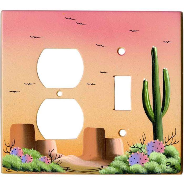 Saguaro Cactus on Sand 1-Duplex / 1-Toggle - Combination Wall Plates