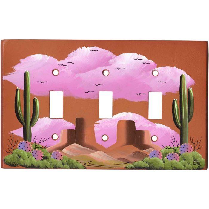Saguaro Cactus on Terra Cotta 3 - Toggle Switch Plates