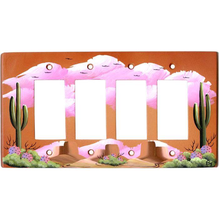 Saguaro Cactus on Terra Cotta 4 Rocker GFCI Decorator Switch Plates