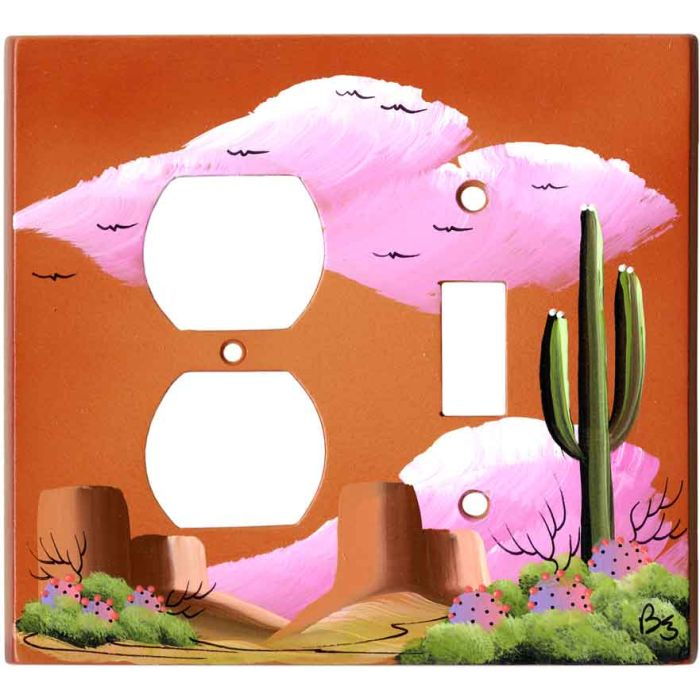 Saguaro Cactus on Terra Cotta 1-Duplex / 1-Toggle - Combination Wall Plates