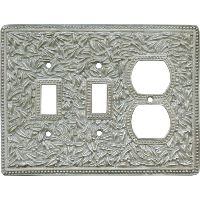San Michele Jumbo Satin Nickel Double 2 Toggle / Outlet Combination Wall Plates
