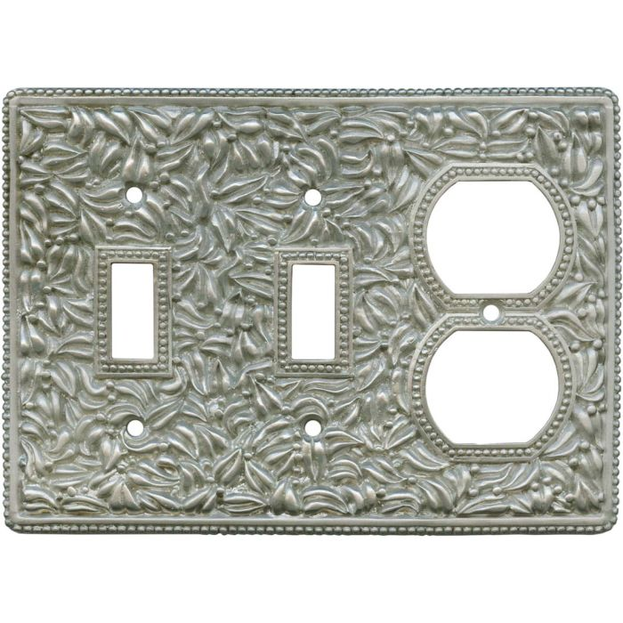 San Michele Satin Nickel Double 2 Toggle / Outlet Combination Wall Plates