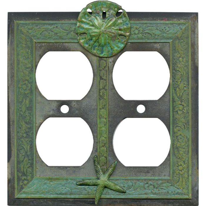 Sand Dollar and Starfish 2 Gang Duplex Outlet Wall Plate Cover