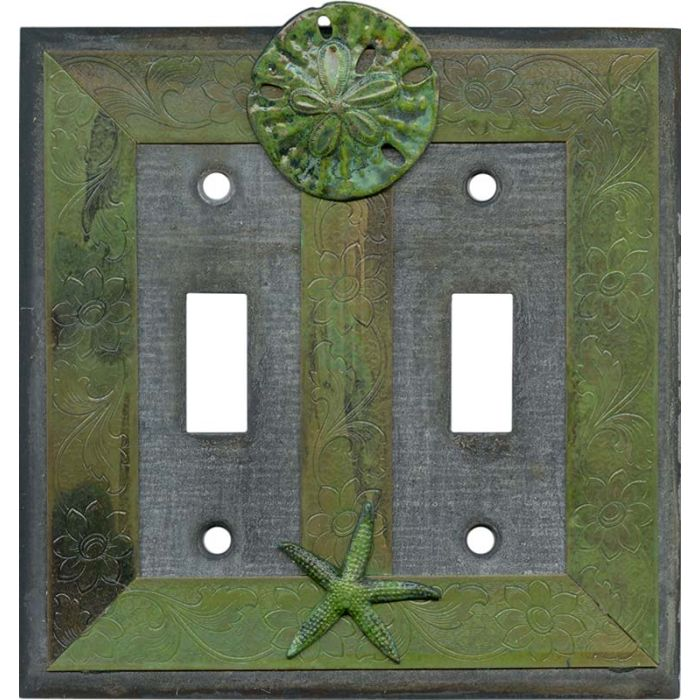 Sand Dollar and Starfish Double 2 Toggle Switch Plate Covers