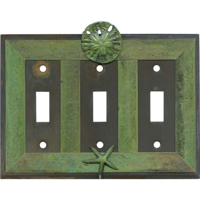 Sand Dollar and Starfish Triple 3 Toggle Light Switch Covers