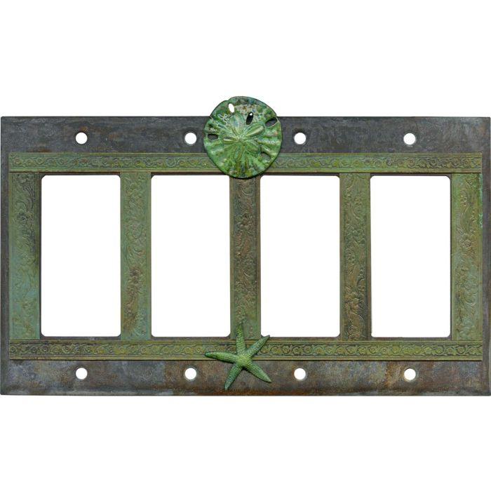Sand Dollar and Starfish 4 Rocker GFCI Decorator Switch Plates