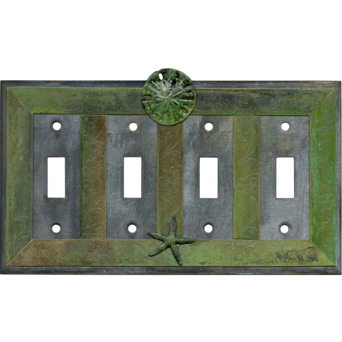 Sand Dollar and Starfish Quad 4 Toggle Light Switch Covers