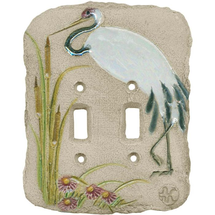 Sandhill Crane Double 2 Toggle Switch Plate Covers
