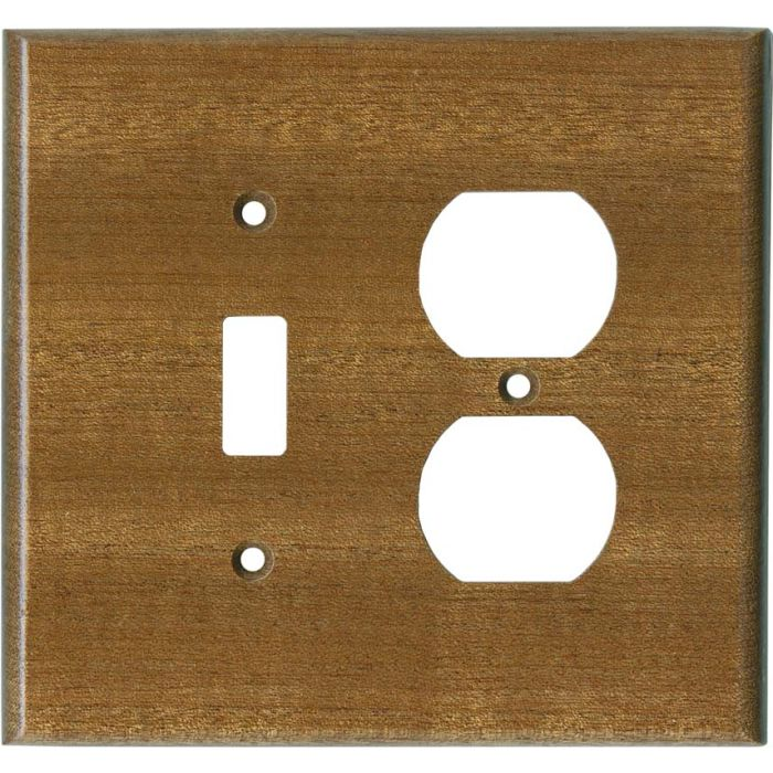 Sapele African Mahogany Satin Lacquer - Combination 1 Toggle/Outlet Cover Plates