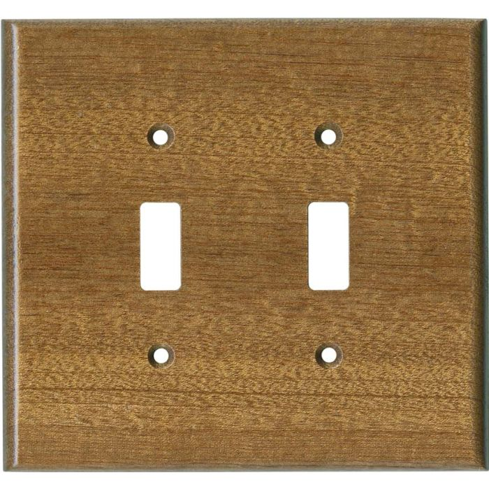 Sapele African Mahogany Satin Lacquer Double 2 Toggle Switch Plate Covers