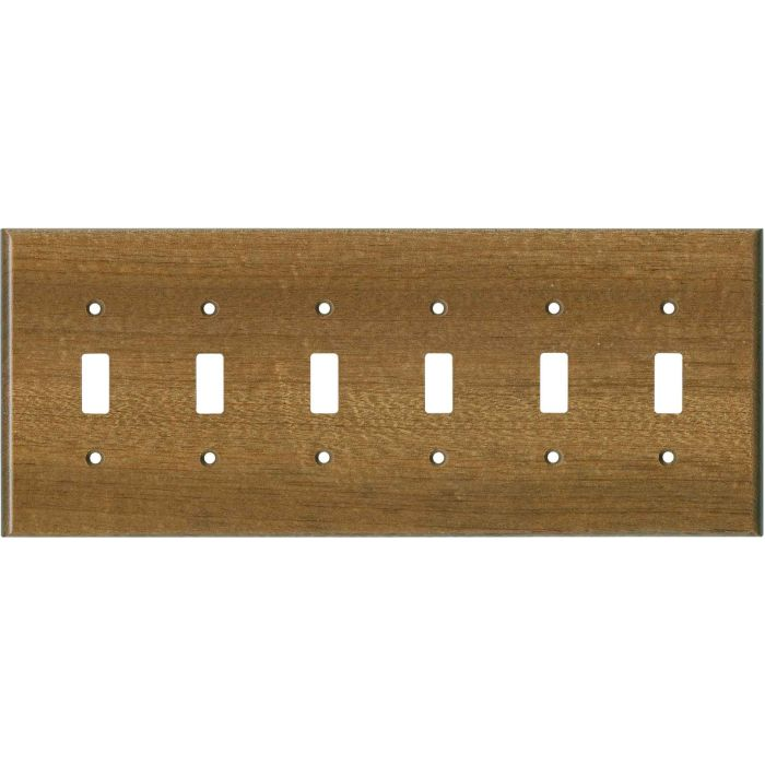 Sapele African Mahogany Satin Lacquer 6 Toggle Wall Plate Covers