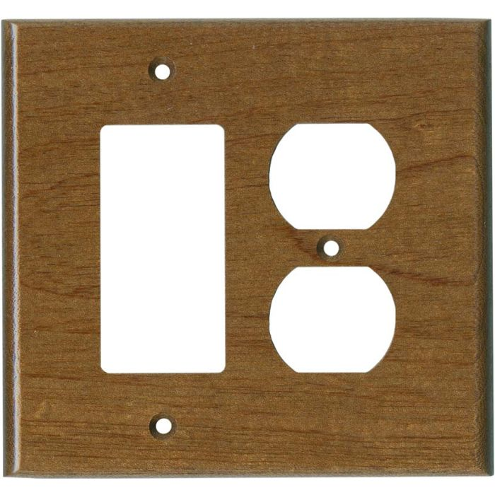 Sapele African Mahogany Satin Lacquer Combination GFCI Rocker / Duplex Outlet Wall Plates