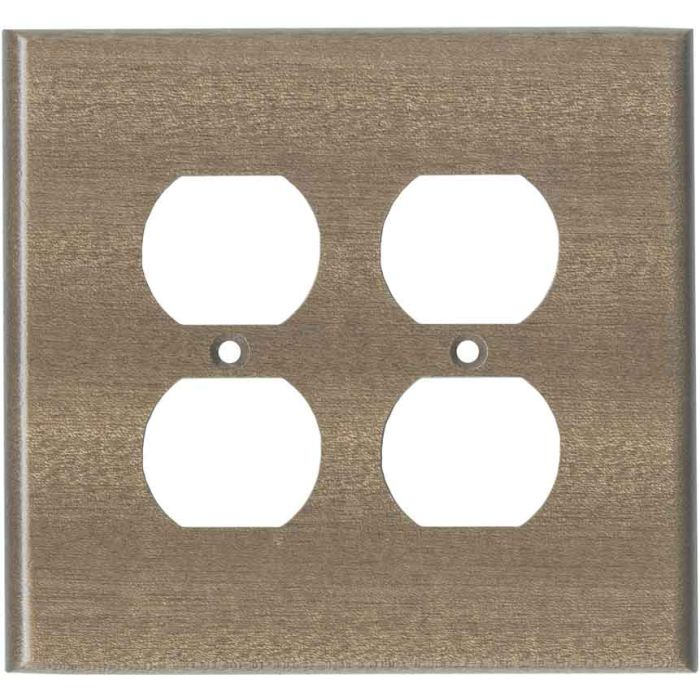 Sapele African Mahogany Unfinished 2 Gang Duplex Outlet Wall Plate Cover