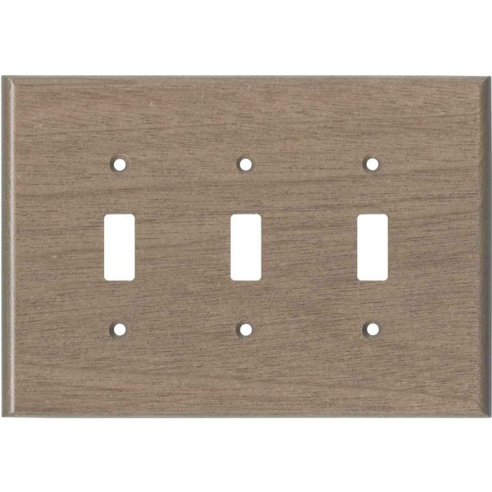 Sapele African Mahogany Unfinished Triple 3 Toggle Light Switch Covers