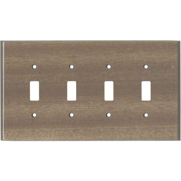 Sapele African Mahogany Unfinished Quad 4 Toggle Light Switch Covers
