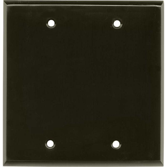 Satin Black Nickel Double Blank Wallplate Covers