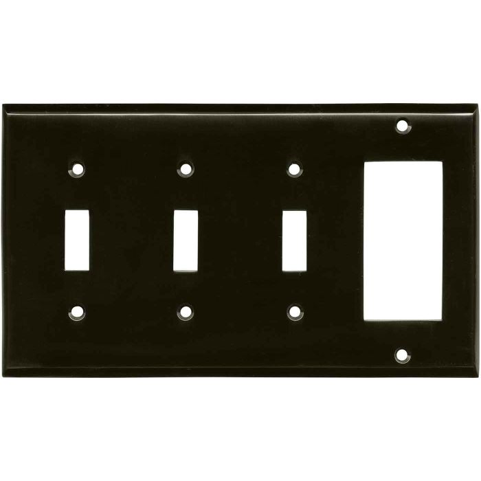 Satin Black Nickel Triple 3 Toggle / 1 Rocker GFCI Switch Covers