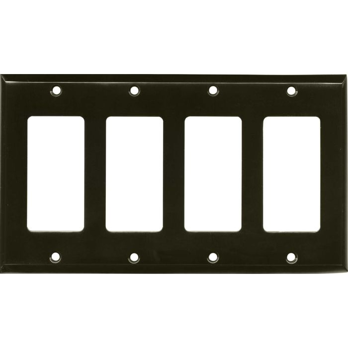 Satin Black Nickel 4 Rocker GFCI Decorator Switch Plates