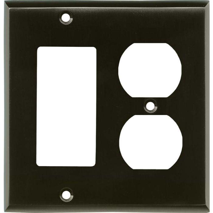 Satin Black Nickel Combination GFCI Rocker / Duplex Outlet Wall Plates