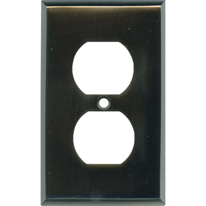 Satin Black Nickel 1 Gang Duplex Outlet Cover Wall Plate