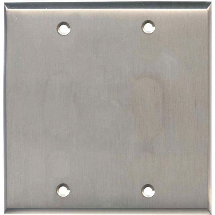 Satin Nickel Double Blank Wallplate Covers