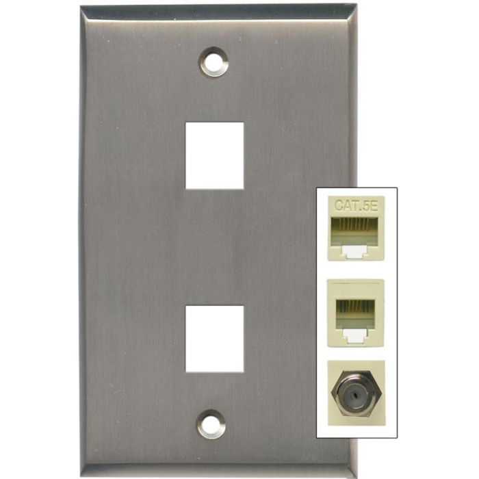 Satin Nickel - Double Port Modular Wall Plates