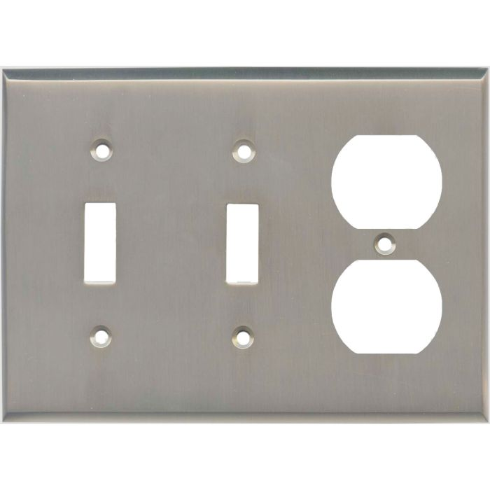 Satin Nickel - 2 Toggle/Outlet Combo Wallplates