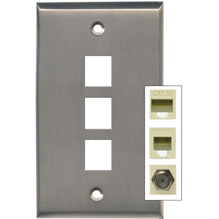 Satin Nickel Triple Port Modular Wall Plates
