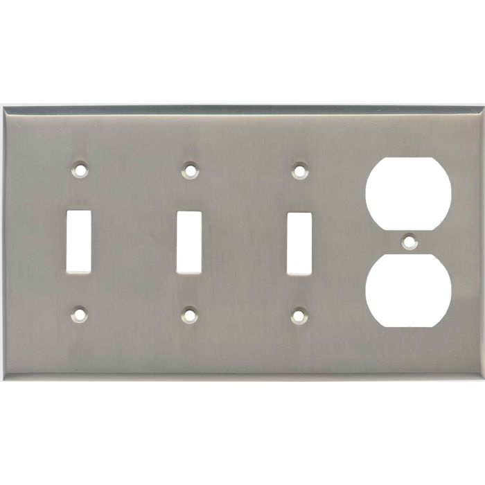 Satin Nickel - 3 Toggle/Outlet Combo Wallplates